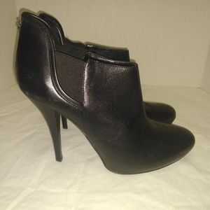 Guess Black Leather Heeled Booties